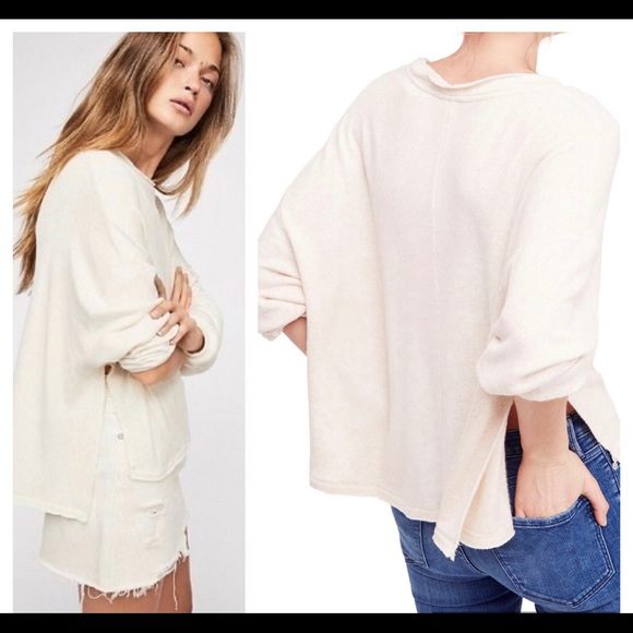 Free people be good terry pullover in oatmeal